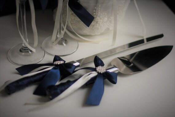 Marine Kuchen Server Set Navy Blau Hochzeitstorte Schneiden Etsy