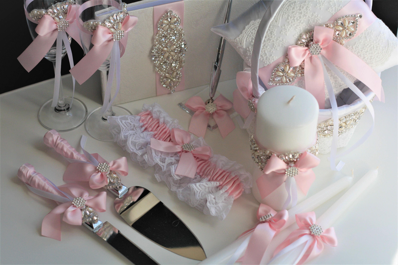 Pink Wedding Accessories Pink Flower Girl Basket Pink Ring
