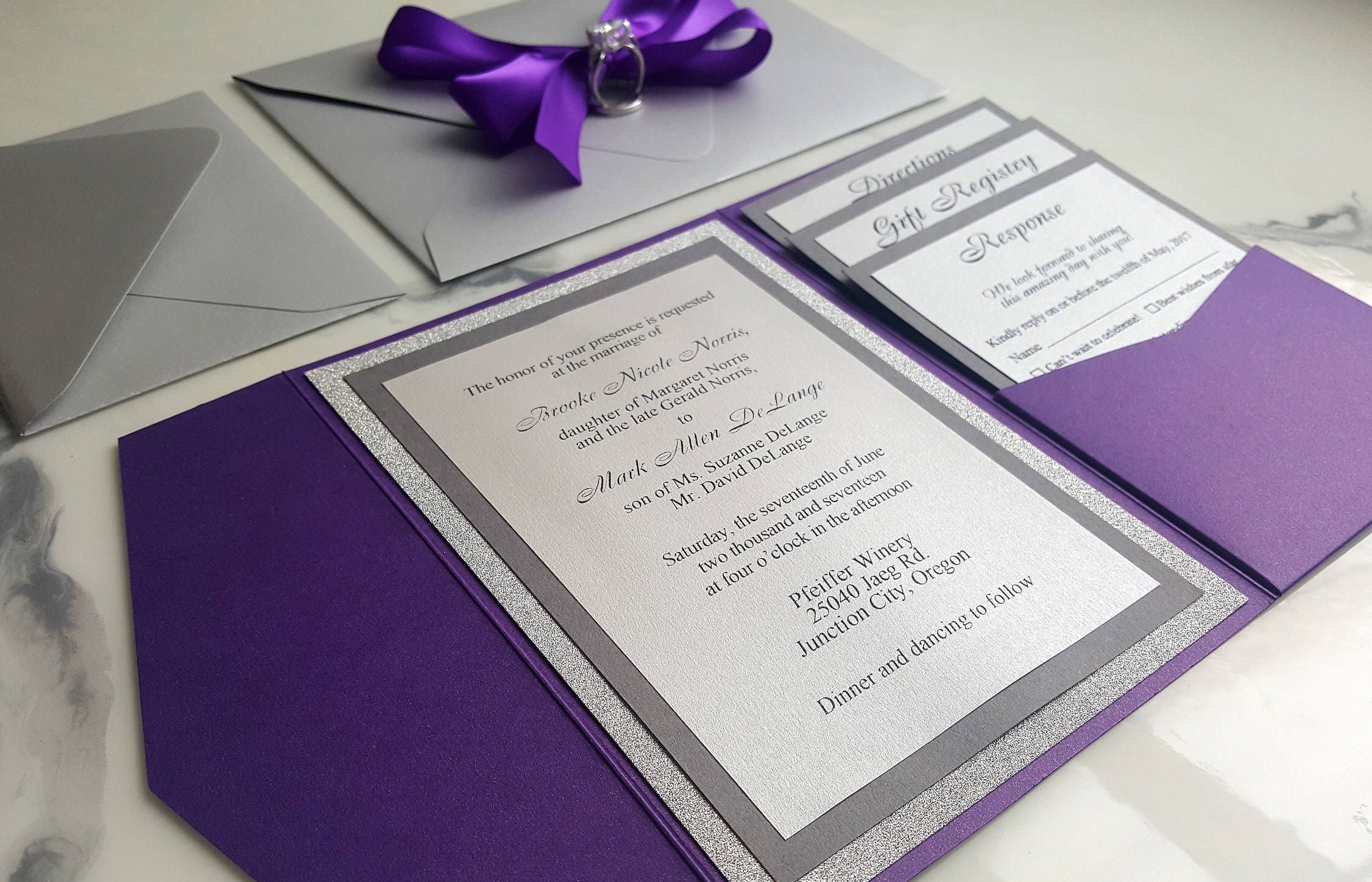 Purple silver wedding invitations metallic pocket fold etsy zoom junglespirit Image collections