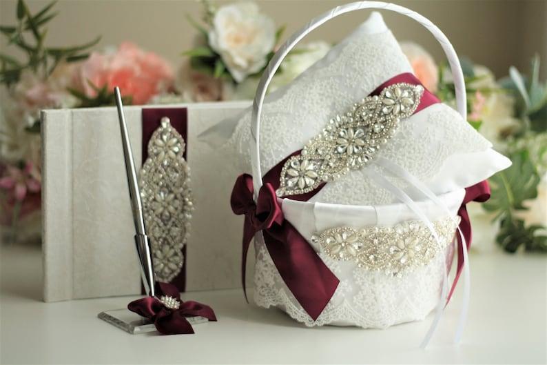 Burgundy Flower Girl Basket and Ring Bearer Pillow Flower Basket Marsala Ring Pillow Maroon Wedding Basket Guest Book and Pen Wedding Pillow