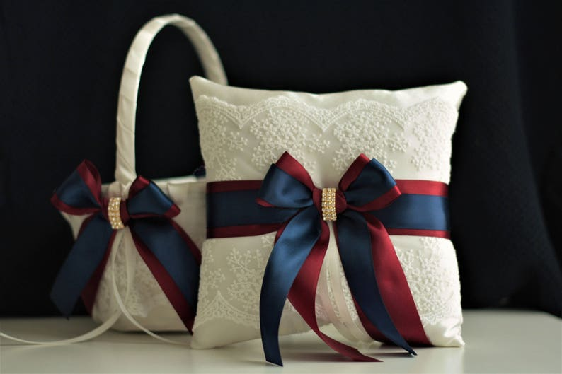 Navy Flower Girl Basket Burgundy Pillow for Rings Navy Blue 1 Pillow + 1 Basket
