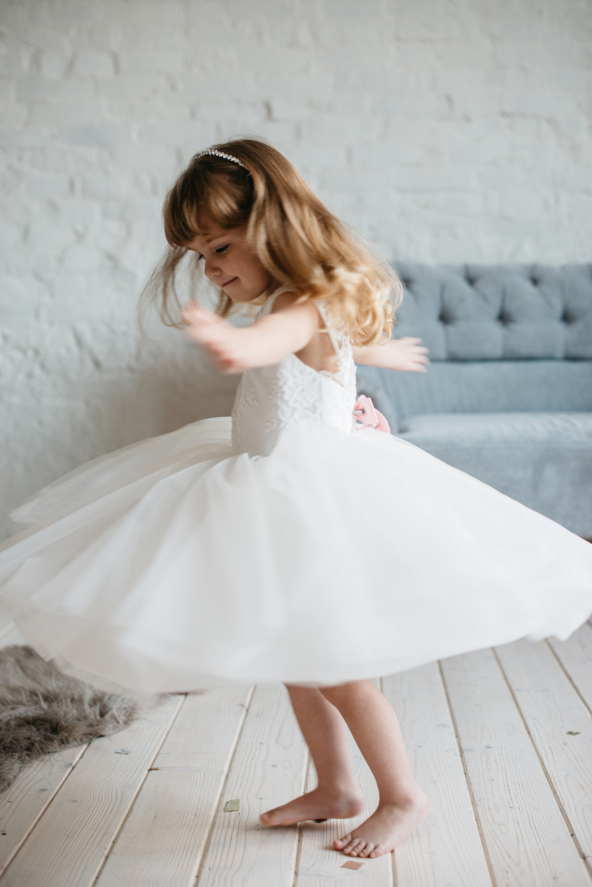 Flower Girl Dress Tulle Girl Dress Wedding Dresses Ivory Flower Girl