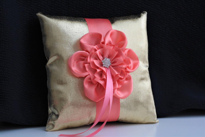 Coral Gold Basket / Coral Wedding Basket / Coral Flower Girl Basket ...