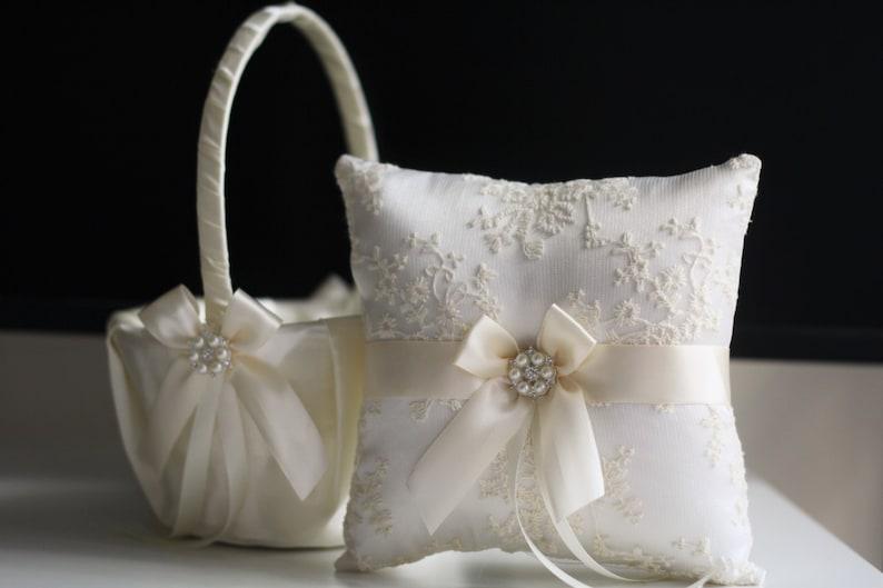 Flower Girl Basket and Ring Bearer Pillow Set Ivory Ring 1 Pillow + 1 Basket