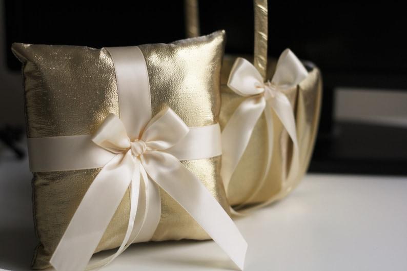 Gold Ring Holder Gold Ring Bearer Pillow Gold Flower Girl image 0