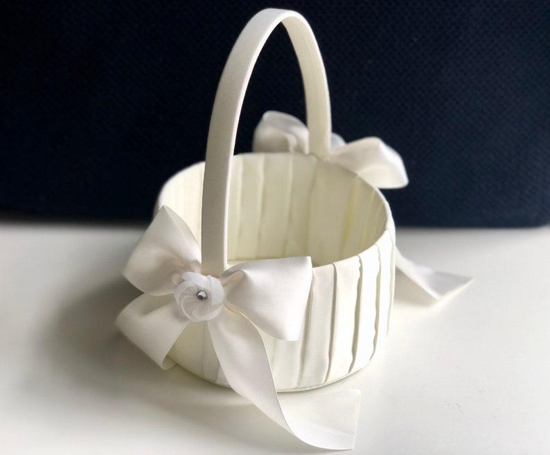 Ivory or White Flower Girl Basket