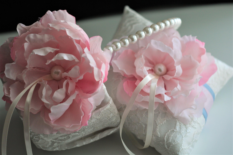 Pink Flower Girl Basket Lace Wedding Basket Pink Ring Bearer Pillow