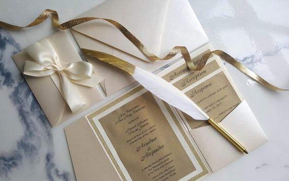 ivory gold wedding invitations ivory pocket fold invites etsy
