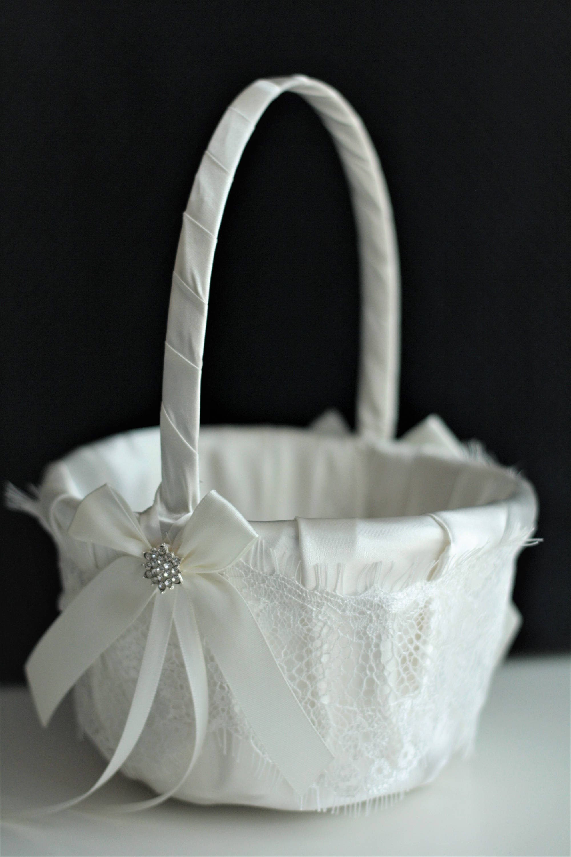White Flower Girl Basket White Wedding Basket Lace Wedding Etsy