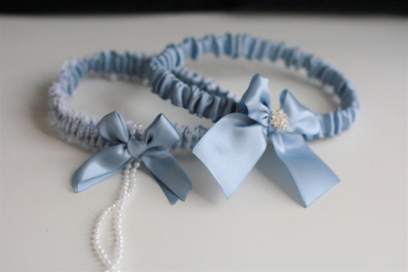 65a44fcc581 Steel Blue Garter Set Steel Bridal Garter Blue Wedding