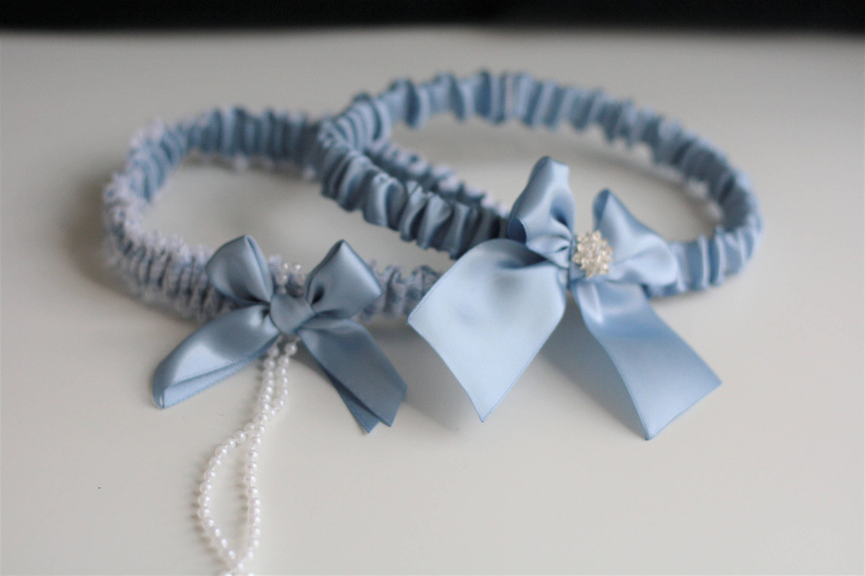 Steel Blue Garter Set Steel Bridal Garter Blue Wedding Garter