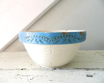 Vintage White Crock Pottery Bowl Blue White Mixing Bowl Large