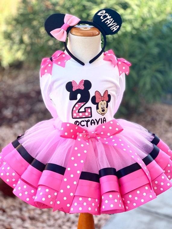 Minnie Mouse Birthday Outfit Minnie Ribbon Tutu Minnie Tutu Dress Minnie Outfit Minnie Pink And Black Tutu Minnie Cake Smash Outfit