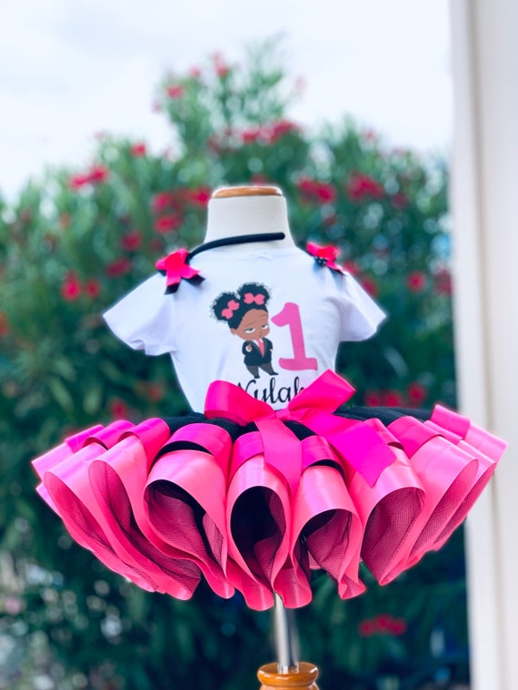 Boss Baby Inspired Tutu Set Boss Baby Birthday Tutu Pink And Black Tutu Ribbon Trim Tutu Cake Smash Tutu Princess Tutu Baby Boss