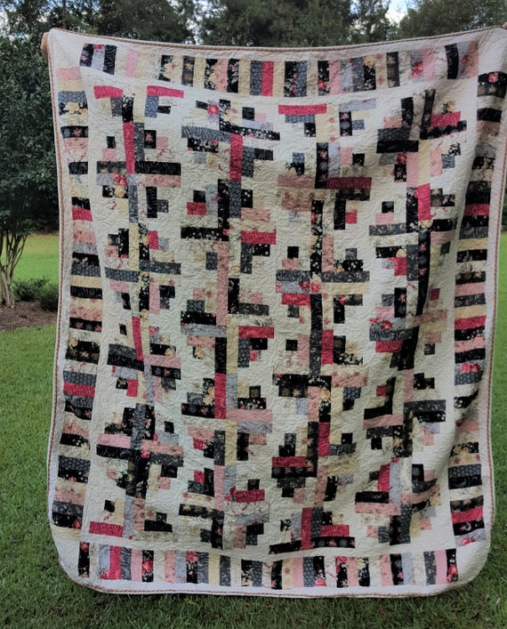 Curved Log Cabin Twin Size Quilt Full Size Quilt Pink Black Etsy