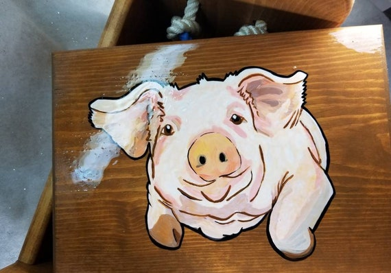 Marvelous Pig Storage Box Wooden Box W Lid Treasure Storage Book Box Writing Table Tote Bench Seat Step Stool Toy Box Handpainted Cow Rope Caraccident5 Cool Chair Designs And Ideas Caraccident5Info