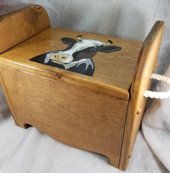 Astounding Cow Storage Box Wooden Box W Lid Treasure Storage Book Box Writing Table Tote Bench Seat Step Stool Toy Box Handpainted Cow Rope Caraccident5 Cool Chair Designs And Ideas Caraccident5Info