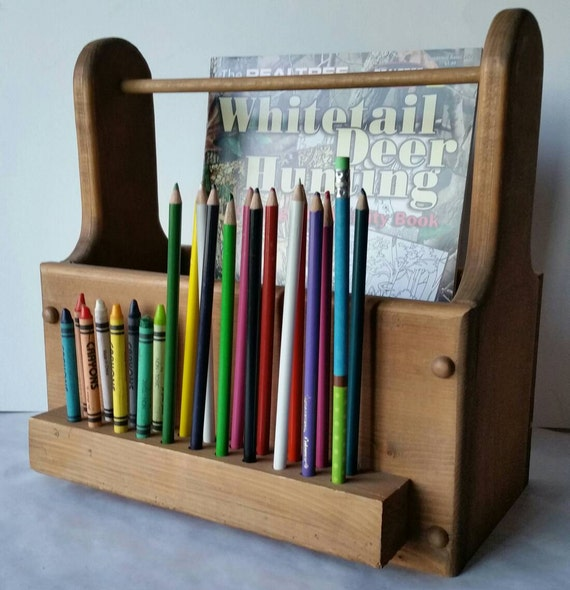 Coloring Book and Crayon Holder, Colored Pencil Holder, Kid\'s Coloring  Caddy, Art Caddy, Kid\'s Organizer, Solid Wood, Coloring Box/Handle.