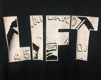 LIFT45 w/ 45 lb. barbell plate silhouette: T-Shirt - Gym / Workout / Lift / Train / Bodybuilding / Powerlifting / Weightlifting
