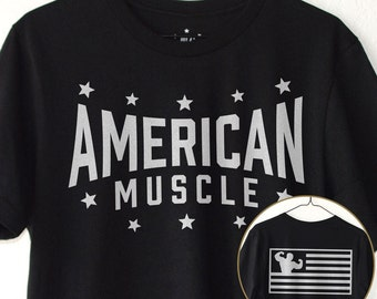 American Muscle | AM Flag : T-Shirt - Gym / Workout / Lift / Train / Bodybuilding / Powerlifting / Weightlifting