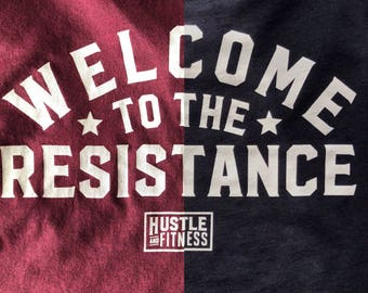 Hustle and Fitness | Welcome to the Resistance: V-Neck T-Shirt - Gym / Workout / Lift / Train / Bodybuilding / Powerlifting / Weightlifting