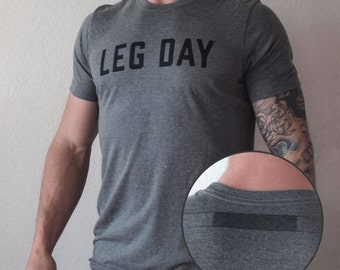 Leg Day T-Shirt w/ Barbell Imprint Detail: T-Shirt - Squat / Gym / Workout / Lift / Train / Bodybuilding / Powerlifting / Weightlifting