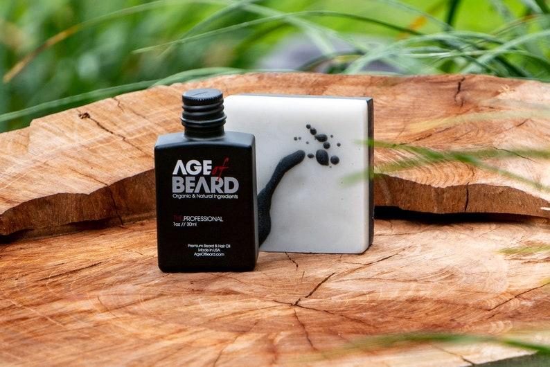 Age of Beard All Natural and Organic Beard Oil + Beard Soap Combo -  Handmade Beard Products - Made in USA - FREE SHIPPING!
