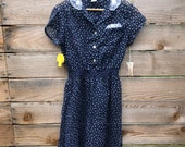 70s dead stock blue floral calico prairie dress with lace collar and pocket square and shirred waist - size 12