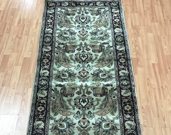 "2'9"" x 8' Indian Kashan Floor Runner Oriental Rug - Hand Made - 100% Wool"
