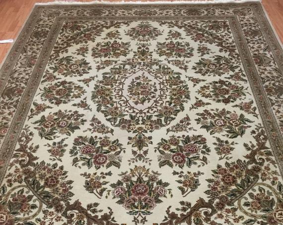 """7'7"""" x 10' Sino Chinese Oriental Rug - Wool & Silk - Hand Made - Full Pile"""