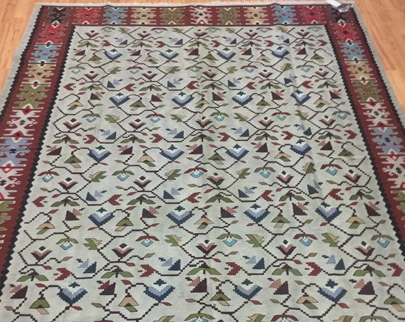 "6'8"" x 8'4"" Antique Turkish Bessarabian Kilim Oriental Rug - 1930 - Hand Made - 100% Wool"