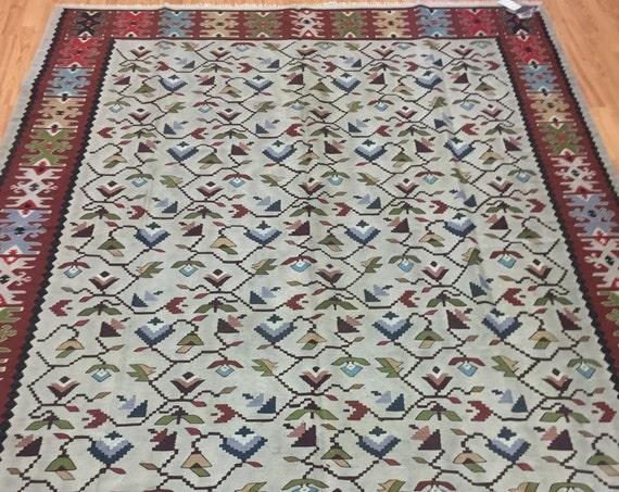 """6'8"""" x 8'4"""" Antique Turkish Bessarabian Kilim Oriental Rug - 1930 - Hand Made - 100% Wool"""