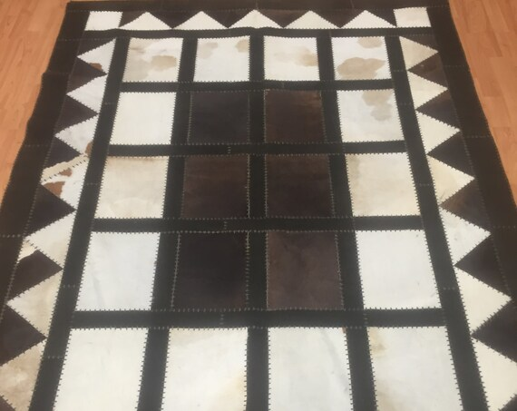 "5'4"" x 7'6"" Cow Skin Patch Work Rug - Hand Made - Perfect Condition - Made in USA"