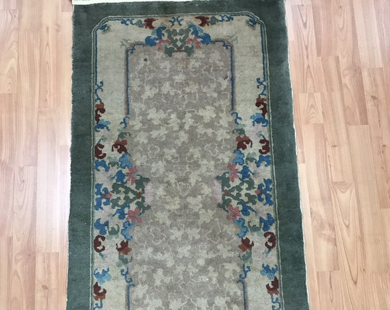 "2'1"" x 4' Antique Chinese Art Deco Oriental Rug - 1930s - Hand Made - 100% Wool"