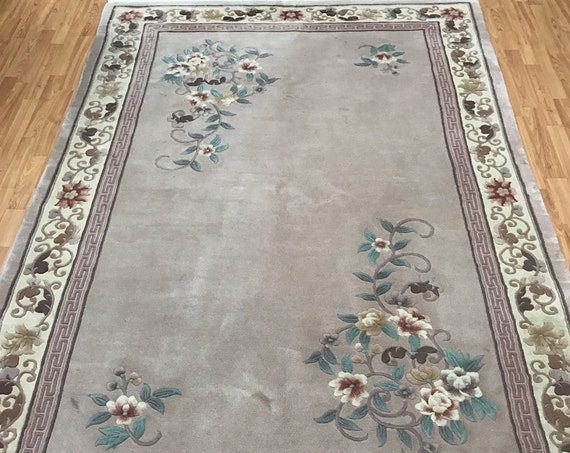 "5'9"" x 8'9"" Chinese Art Deco Oriental Rug - 90 Line - Hand Made - Full Pile - 100% Wool"