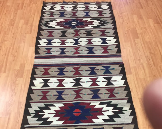 "3'3"" x 8'7"" Turkish Kilim Floor Runner Oriental Rug - 1980s - Hand Made - 100% Wool"