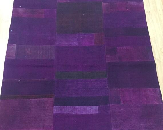 "3'10"" x 4'7"" Turkish Kilim Patch Work Oriental Rug - Hand Made - 100% Wool"
