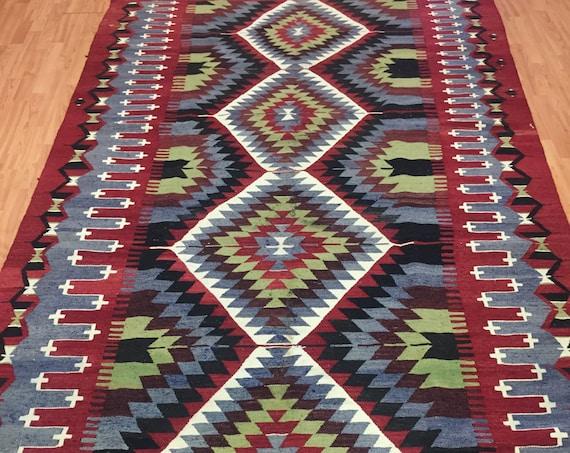 """5'6"""" x 9'6"""" Antique Turkish Kilim Oriental Rug - 1940s - Hand Made - 100% Wool"""