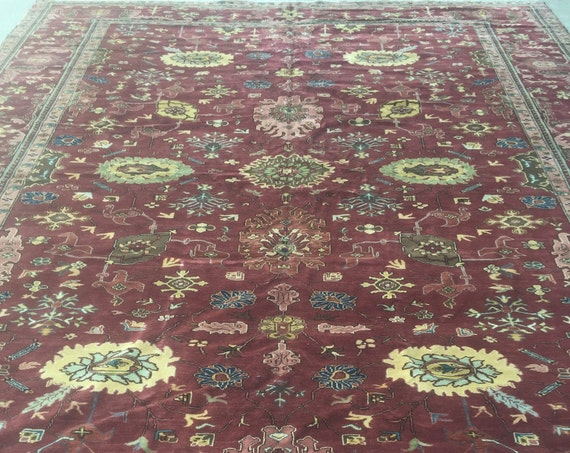 "10'7"" x 13'4"" Egyptian Agra Oriental Rug - Hand Made - Very Fine - Vegetable Dye - 100% Wool"