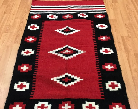 "2'5"" x 5' Native American Navajo Flat Weave Oriental Rug - Hand Made - 100% Wool"