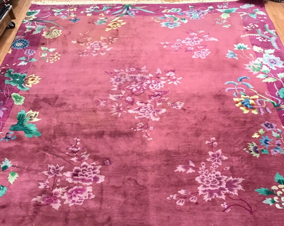 "8'6"" x 11'6"" Antique Chinese Art Deco Oriental Rug - 1920s - Hand Made - 100% Wool"