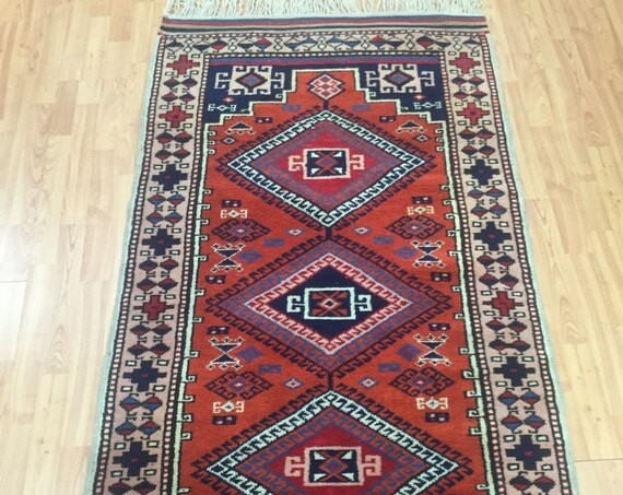 "3'2"" x 6'3"" Turkish Kazak Oriental Rug - 1980s - Full Pile - Hand Made - 100% Wool - Vegetable Dye"
