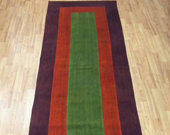 "3' x 8'2"" Turkish Patchwork Kilim Runner Oriental Rug - Hand Made - 100% Wool"