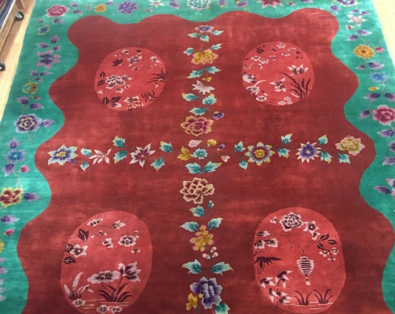 "8'9""' x 11'3"" Antique Chinese Art Deco Oriental Rug - 1920s - Hand Made - 100% Wool"