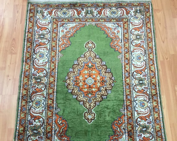 "3' x 4'6"" Antique Turkish Oriental Rug - 1920s - Hand Made - 100% Silk"