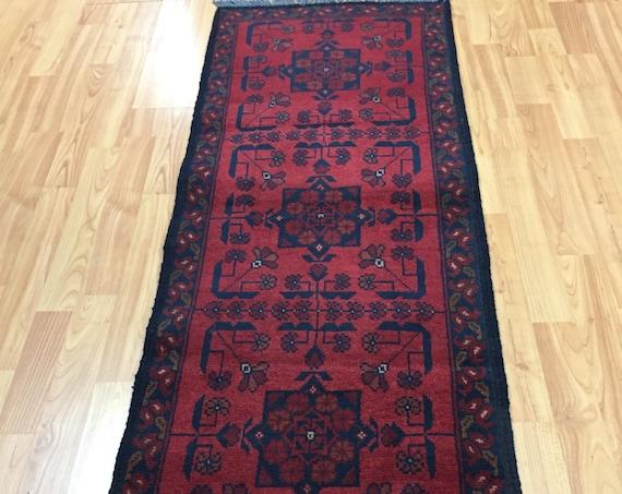 """1'9"""" x 5' Afghan Turkeman Oriental Rug - Hand Made - 100% Wool Pile"""