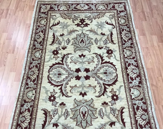 "4' x 7'4"" Pakistani Peshawar Oriental Rug - Hand Made - 100% Wool - Veg Dye"