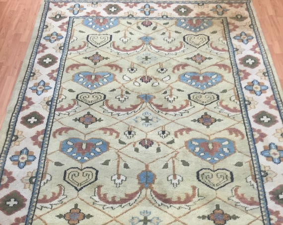"6'4"" x 9' Indian Agra Oriental Rug - Hand Made - Full Pile - 100% Wool"