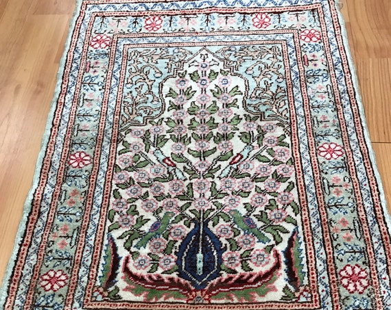 "1'4"" x 2' Antique Turkish Hereke Oriental Rug - 1930s - Hand Made - 100% Silk"