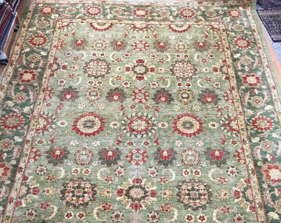 "9'7"" x 13'5"" Pakistani Peshawar Agra Design Oriental Rug - Hand Made - Vegetable Dye - 100% Wool"